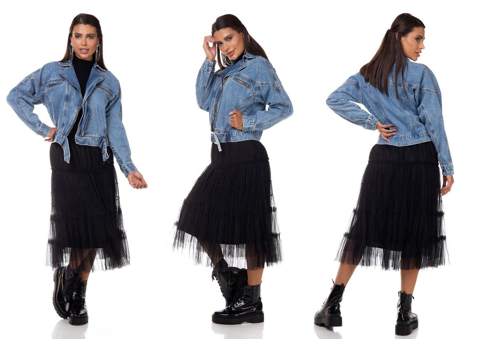 dz9108 jaqueta jeans feminina biker bolsos embutidos denim zero tripla