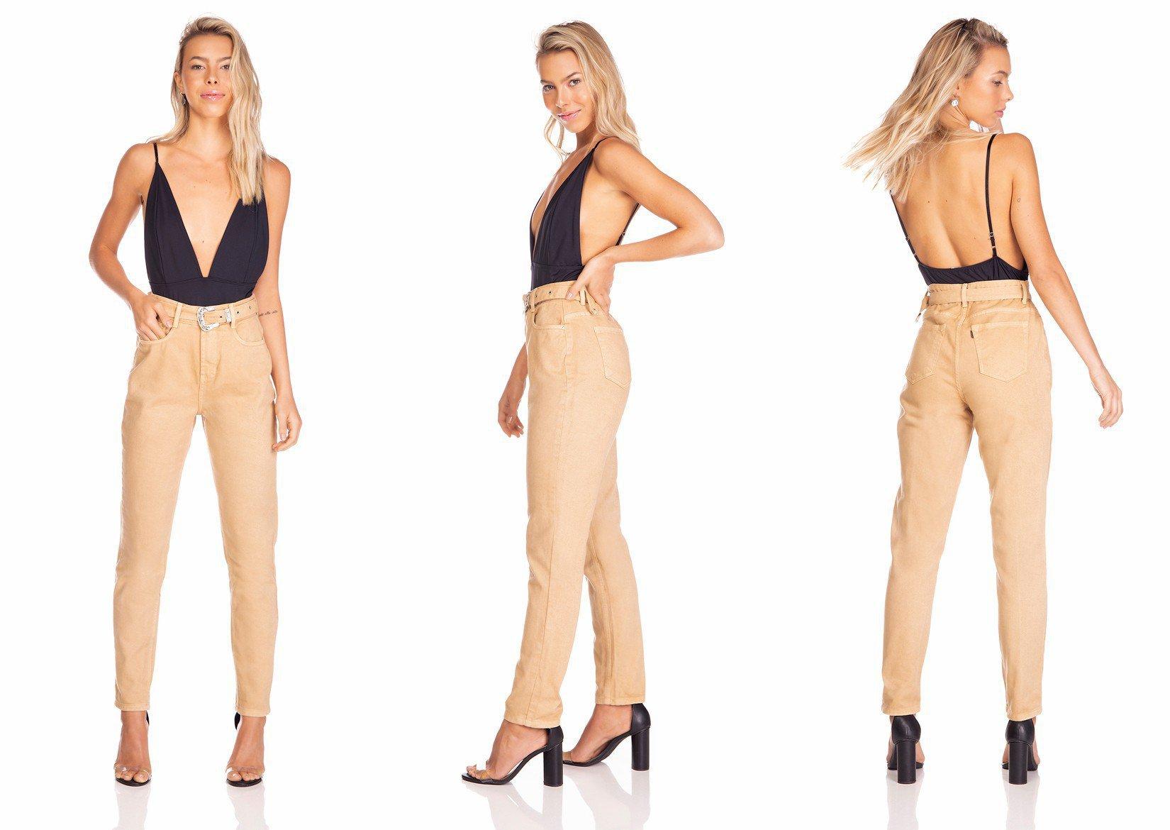 dz3280 calca jeans feminina mom com cinto denim zero tripla