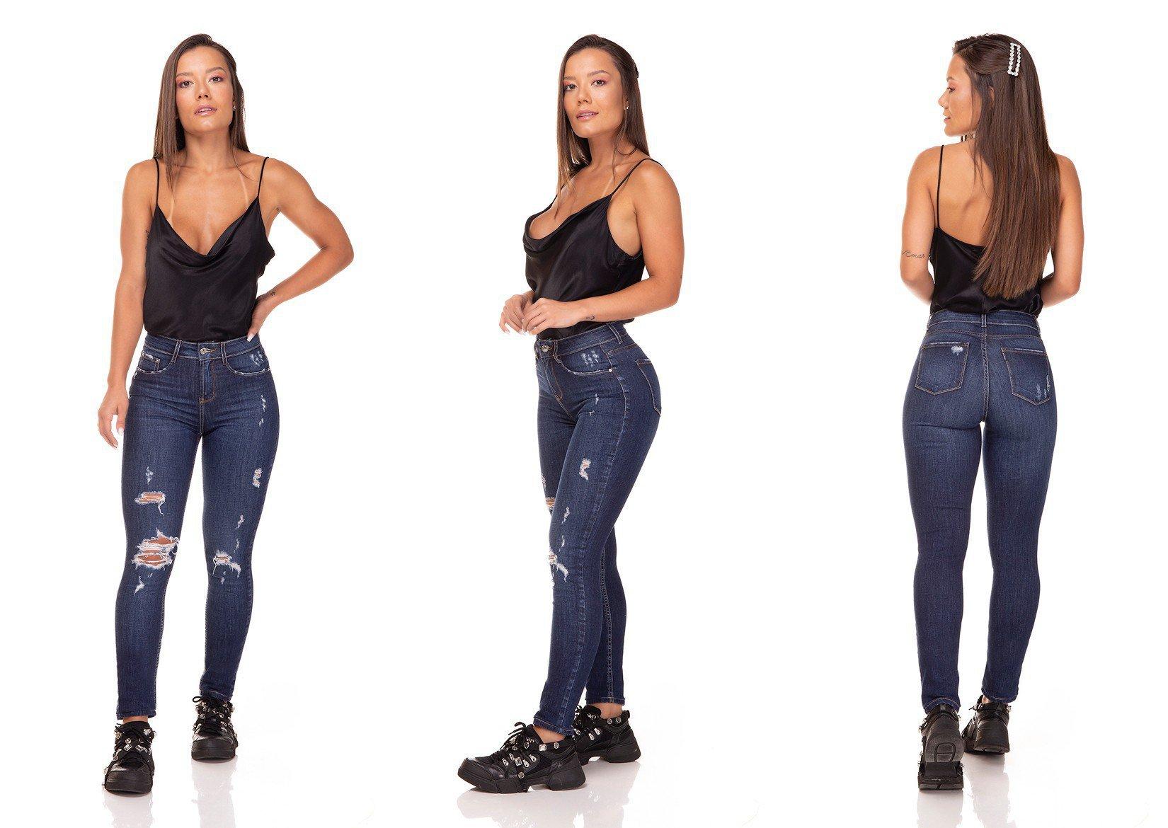 dz3291 calca jeans skinny media cigarrete com rasgos denim zero tripla