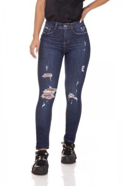 dz3291 calca jeans skinny media cigarrete com rasgos denim zero frente prox