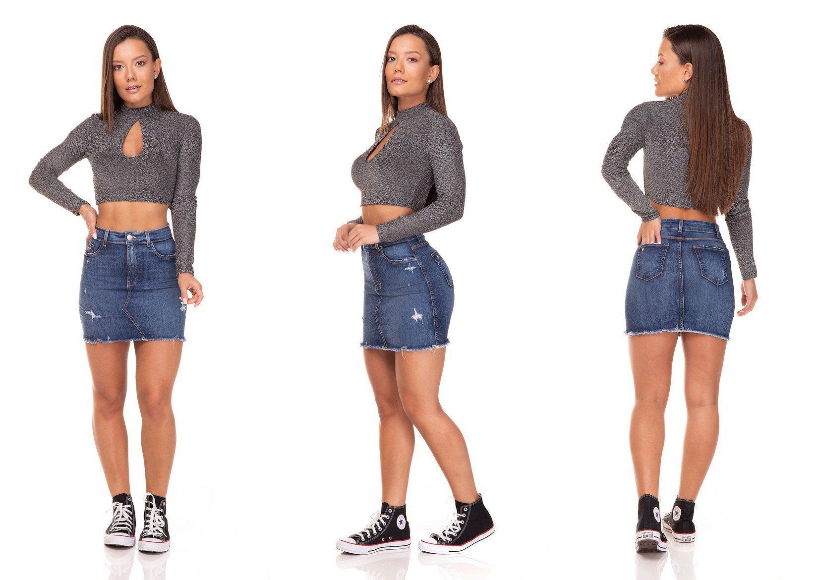 dz7130 saia jeans feminina tubinho recorte frontal denim zero tripla