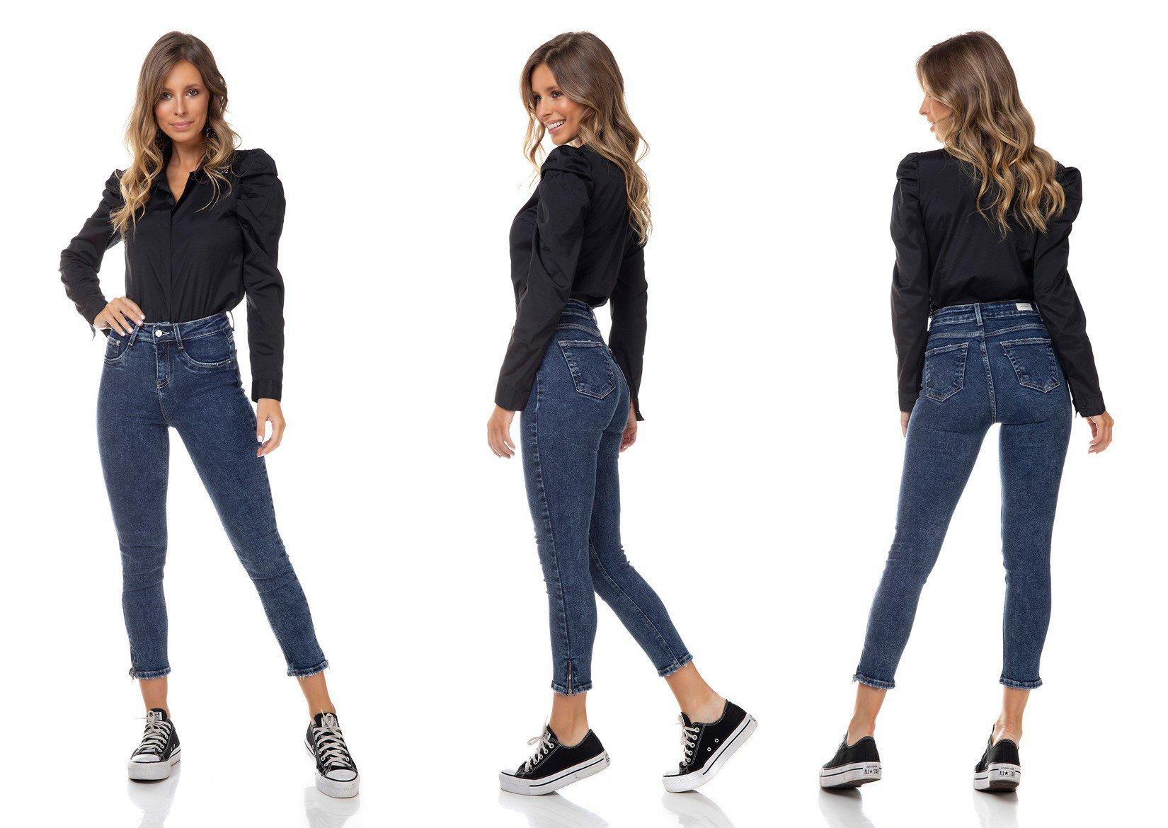 dz3352 calca jeans feminina skinny media cropped com ziper decorativo na barra denim zero tripla
