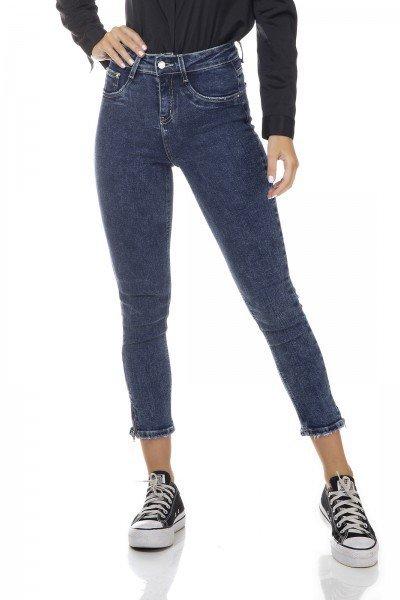 dz3352 calca jeans feminina skinny media cropped com ziper decorativo na barra denim zero frente prox