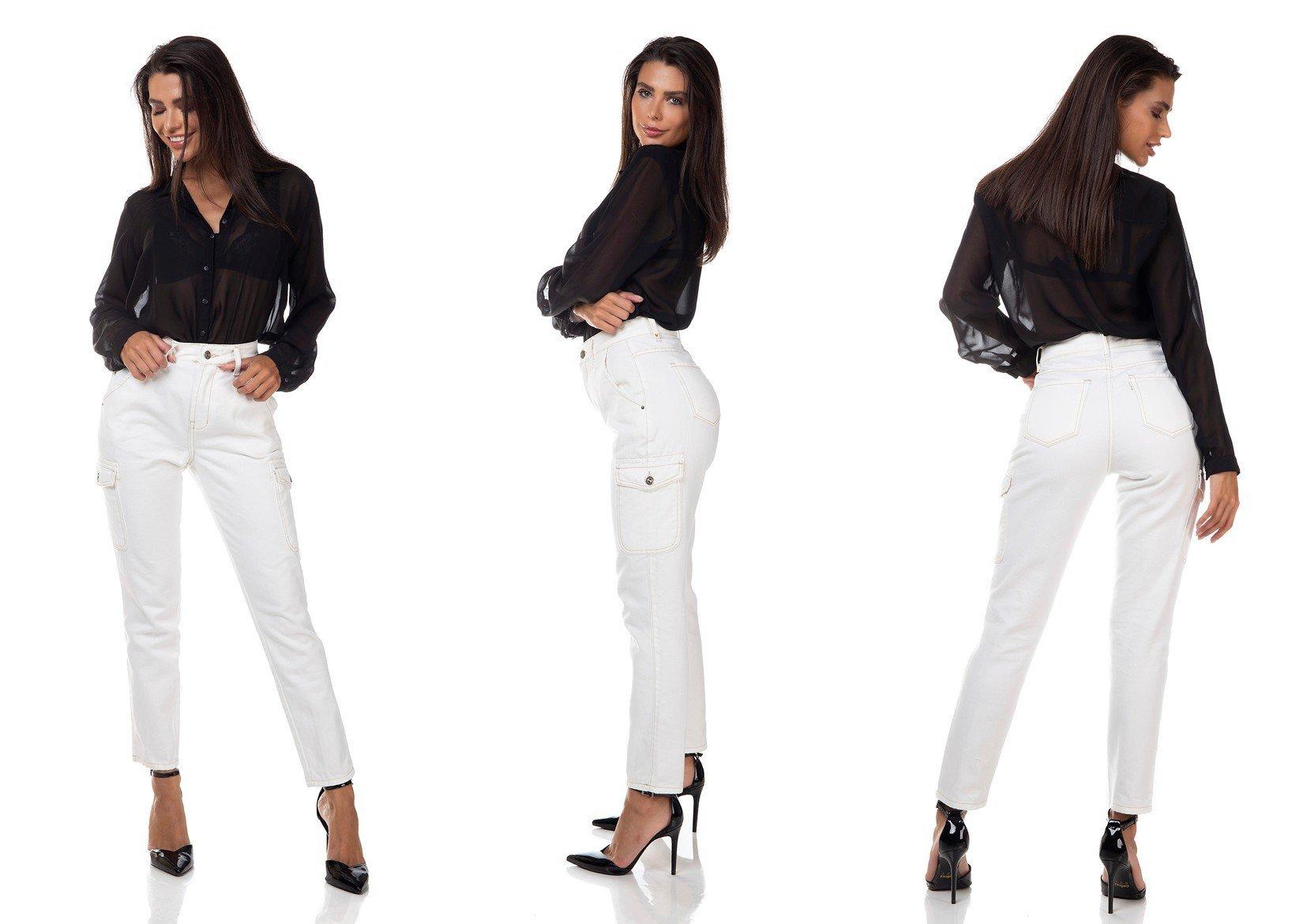 dz3329 calca jeans feminina mom com bolsos laterais off white denim zero tripla