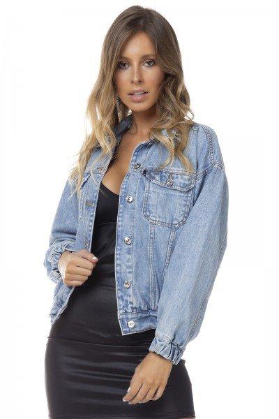 dz9107 jaqueta jeans feminina retro com elastico denim zero frente prox