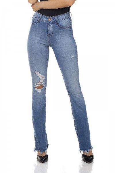dz3339 calca jeans feminina boot cut media com rasgos denim zero frente prox