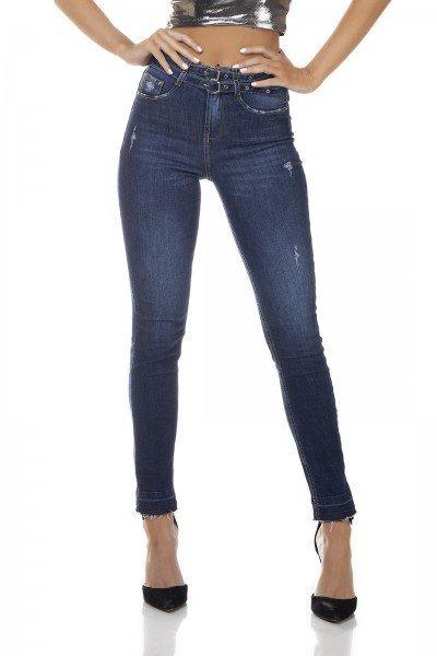 dz3336 calca jeans feminina sinny media cigarrete cinto duplo denim zero frente prox