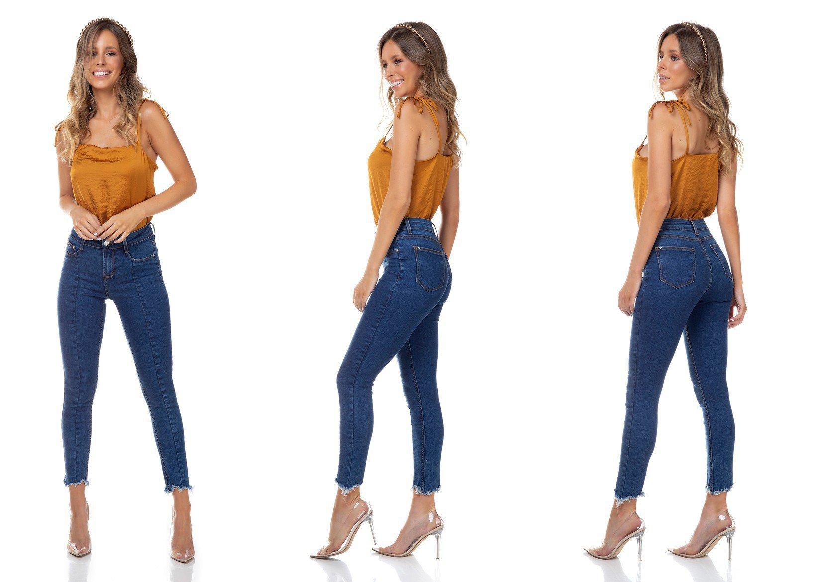 dz3316 calca jeans feminina skinny media cigarrete recorte frontal denim zero tripla