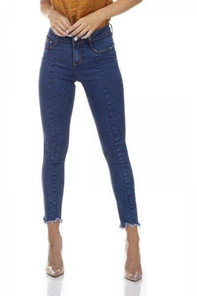 dz3316 calca jeans feminina skinny media cigarrete recorte frontal denim zero frente prox