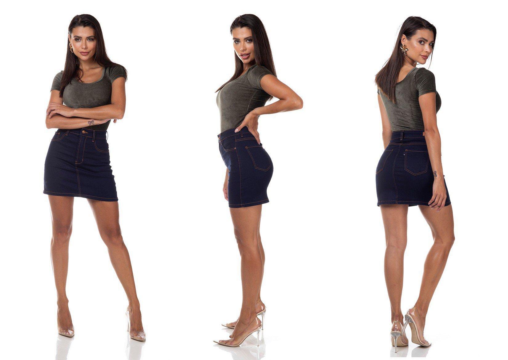 dz7138 saia jeans feminina tubinho tradicional denim zero tripla