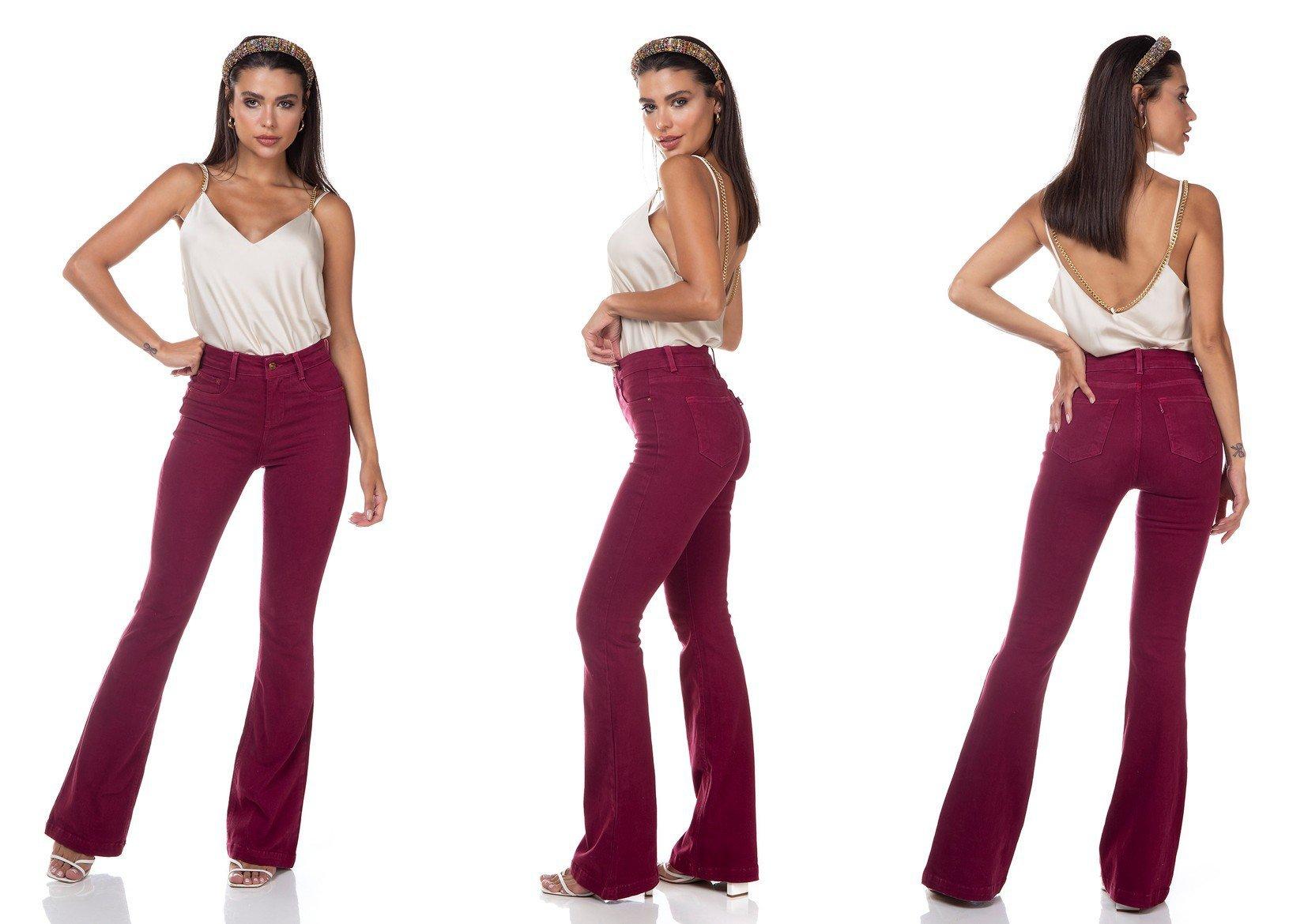 dz3308 calca jeans feminina flare media colorida maca do amor denim zero tripla