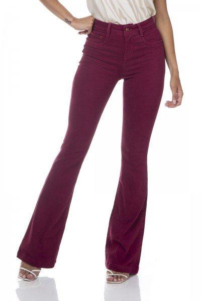 dz3308 calca jeans feminina flare media colorida maca do amor denim zero frente prox