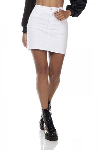 dz7144 saia jeans feminina tubinho black and white branco denim zero frente prox