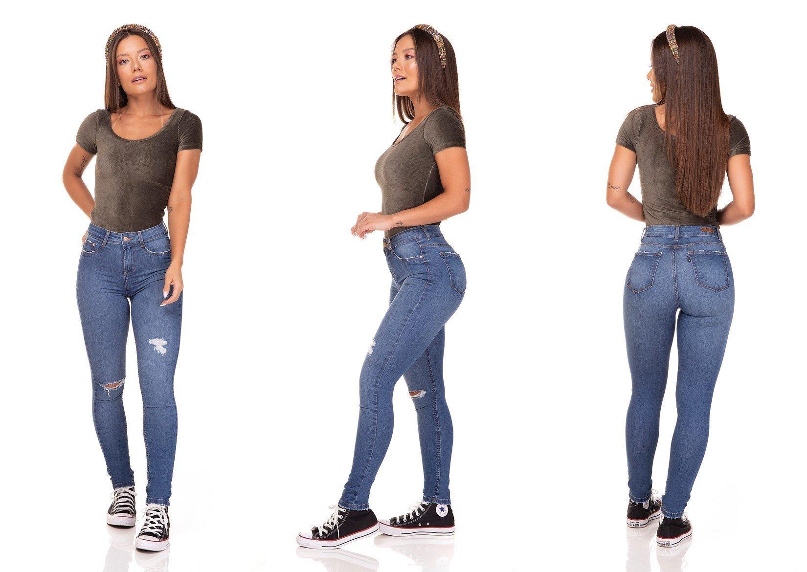 dz3289 calca jeans skinny media cigarrete rasgo no joelho denim zero tripla