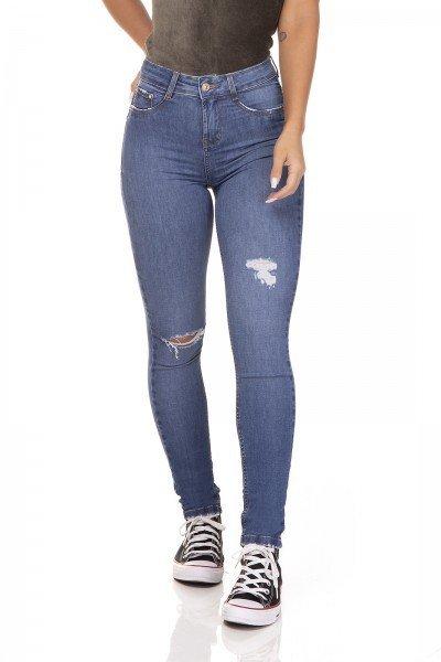 dz3289 calca jeans skinny media cigarrete rasgo no joelho denim zero frente prox