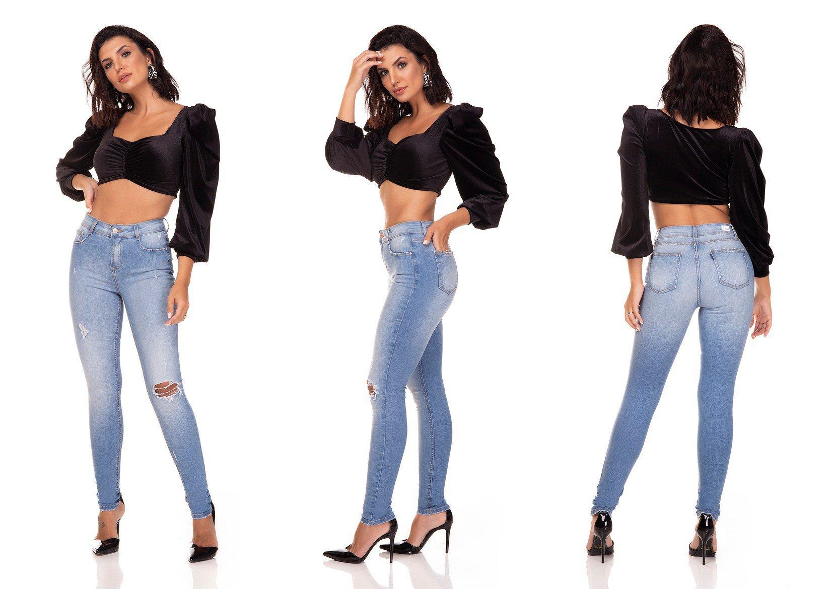 dz3290 calca jeans skinny media com puidos denim zero tripla