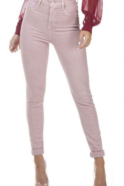 dz3305 calca jeans feminina skinny hot pants colorida old roset denim zero frente prox