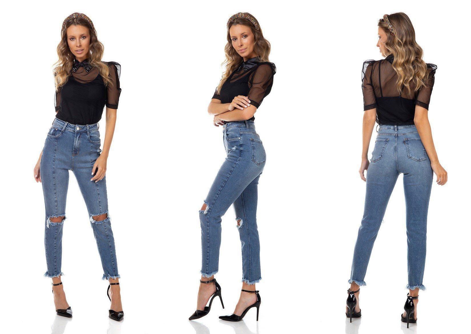dz3325 calca jeans feminina mom fit rasgo no joelho denim zero tripla