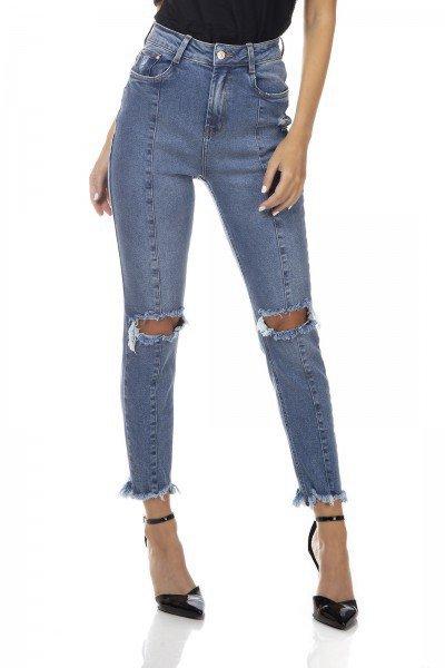 dz3325 calca jeans feminina mom fit rasgo no joelho denim zero frente prox