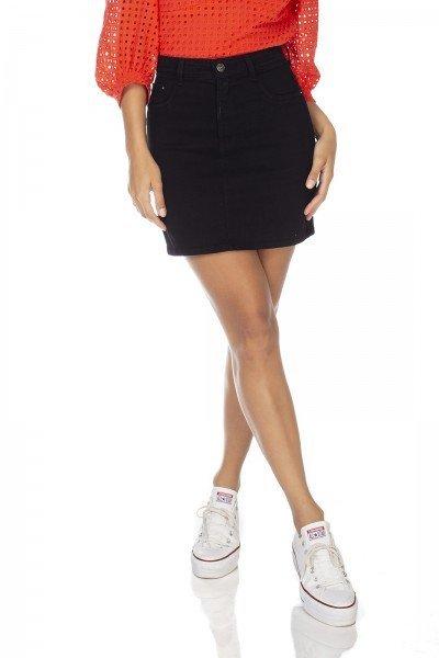 dz7078 saia jeans feminina tubinho black and white preto denim zero frente prox