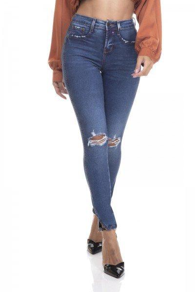 dz3375 calca jeans feminina skinny media cigarrete fenda na barra denim zero frente prox