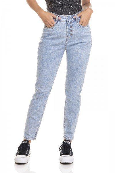 dz3386 calca jeans feminina mom fit fechamento com botoes denim zero frente prox
