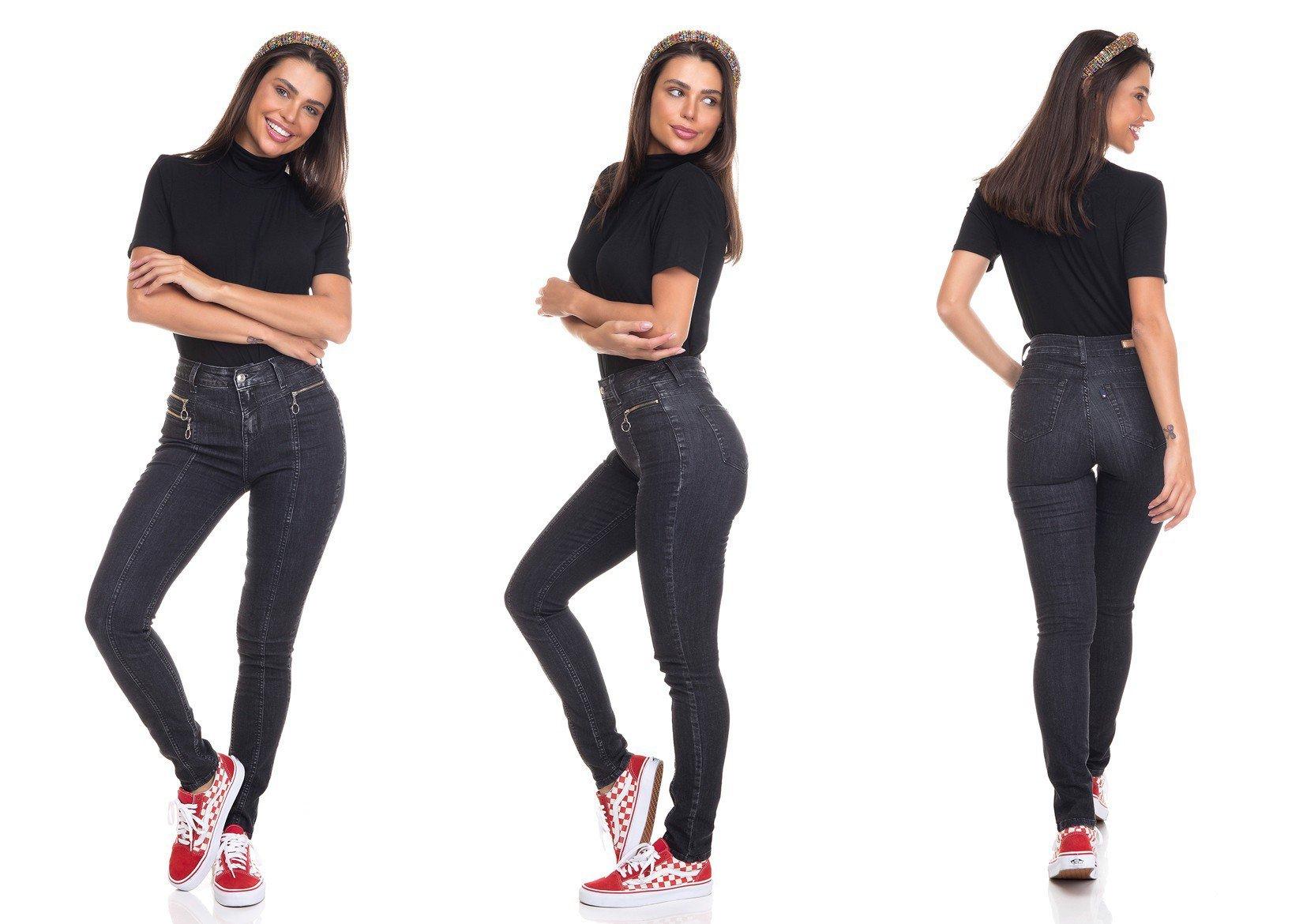 dz3374 calca jeans feminina skinny media bolsos com ziper denim zero tripla
