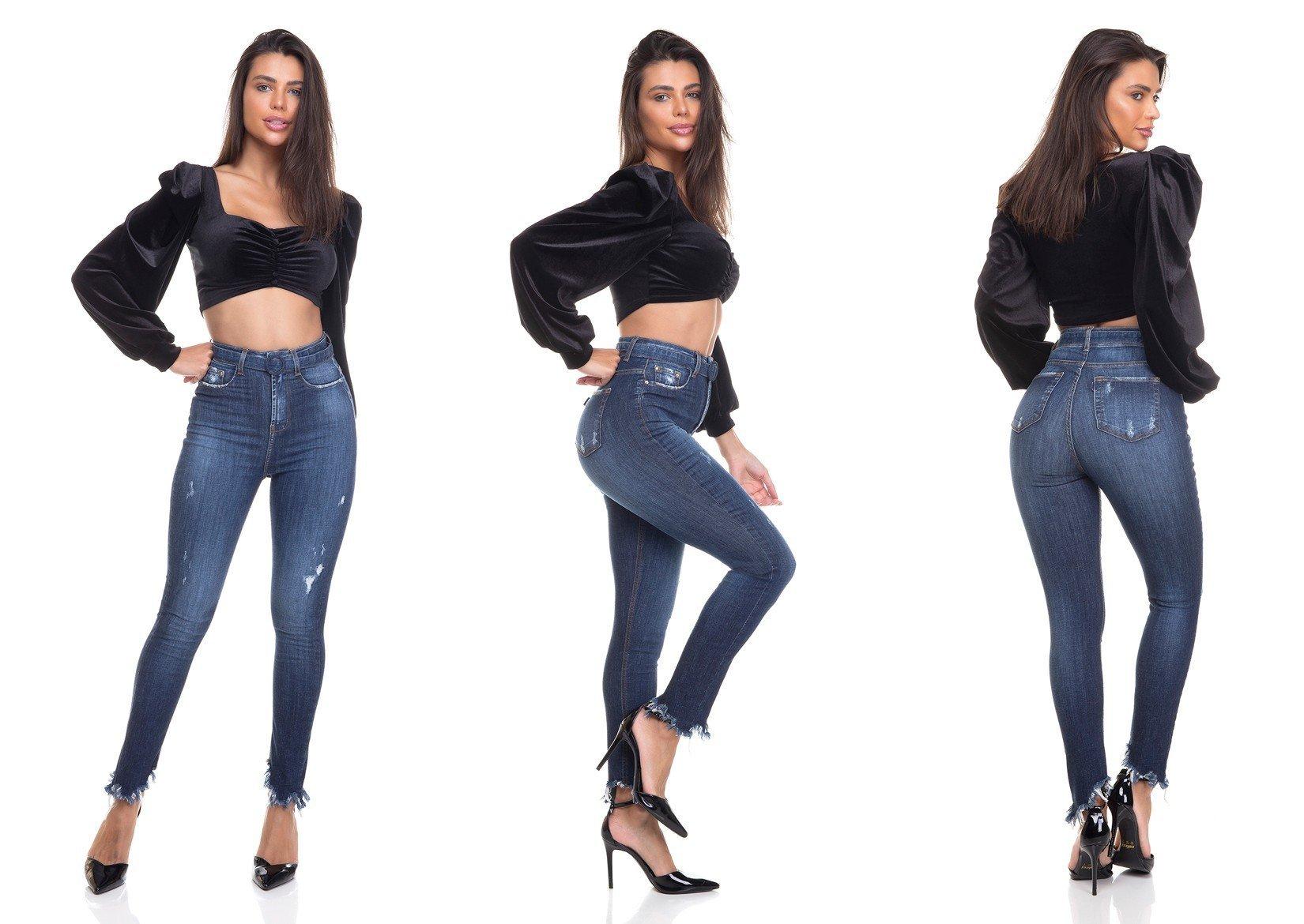 dz3363 calca jeans feminina skinny hot pants cigarrete com cinto denim zero tripla
