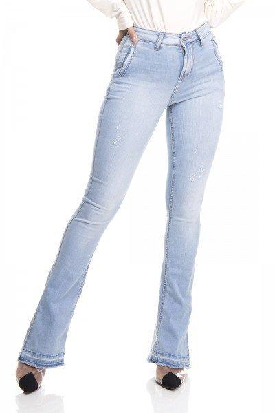 dz3381 calca jeans feminina new boot cut bolsos embutidos denim zero frente prox