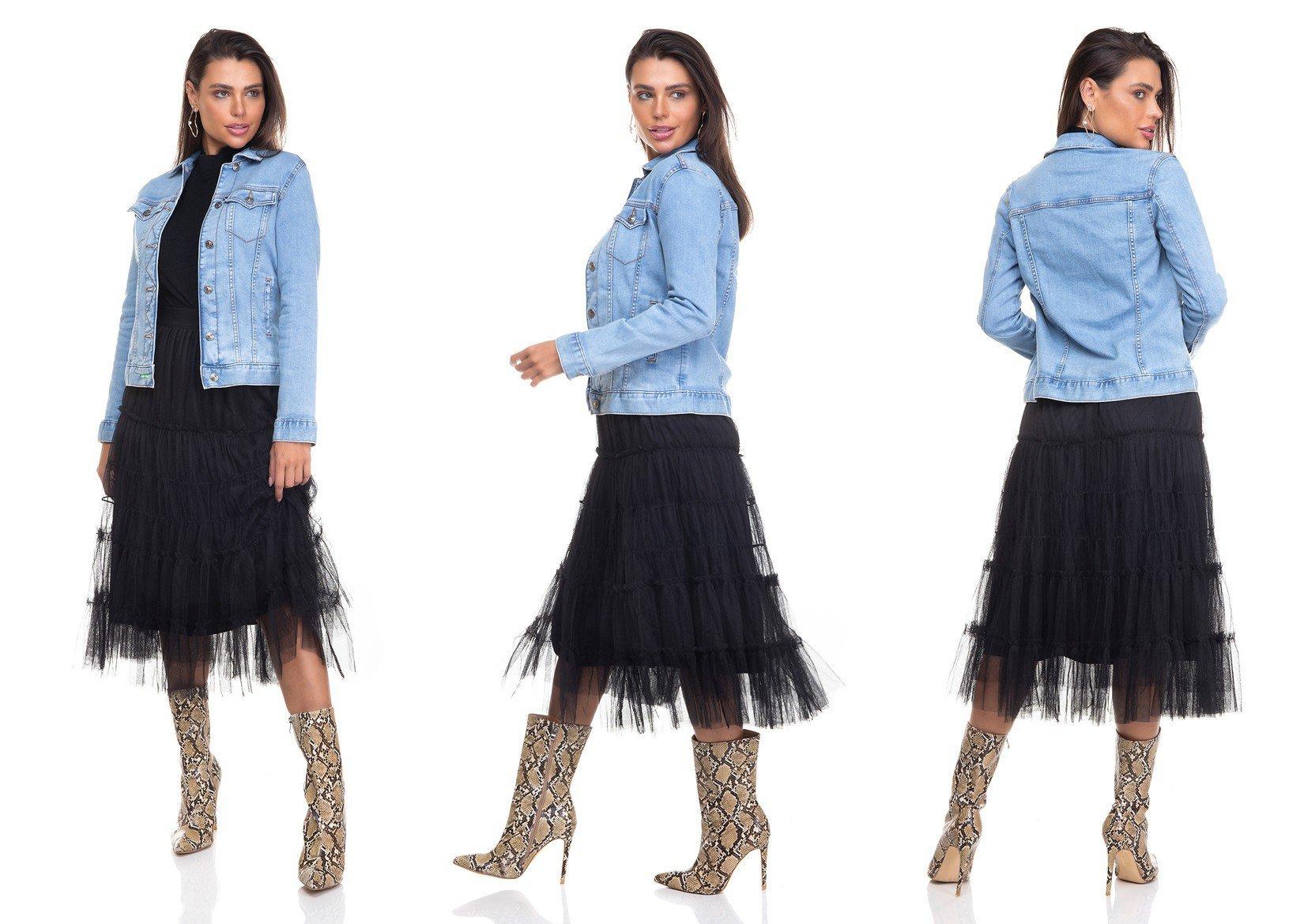 dz9110 jaqueta jeans feminina regular com elastano denim zero tripla