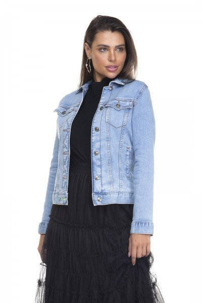dz9110 jaqueta jeans feminina regular com elastano denim zero frente prox