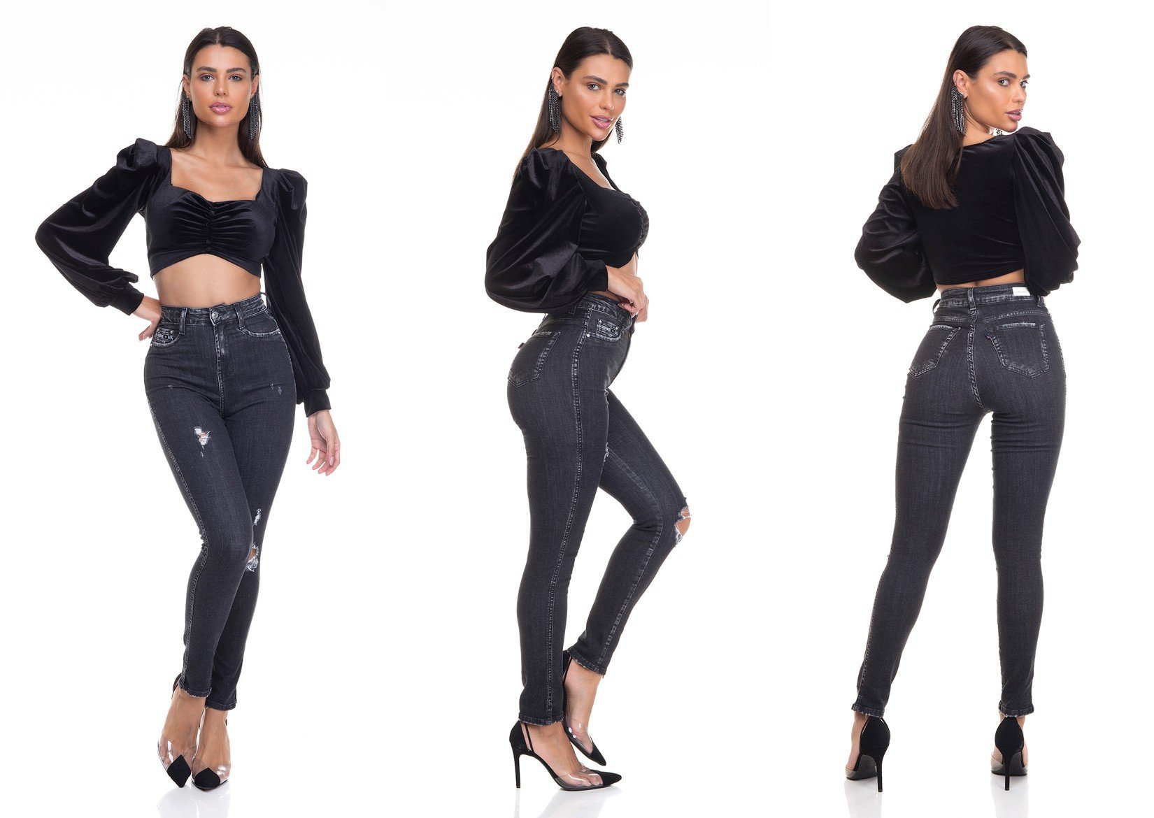dz3380 calca jeans feminina skinny hot pants cigarrete com puidos denim zero tripla