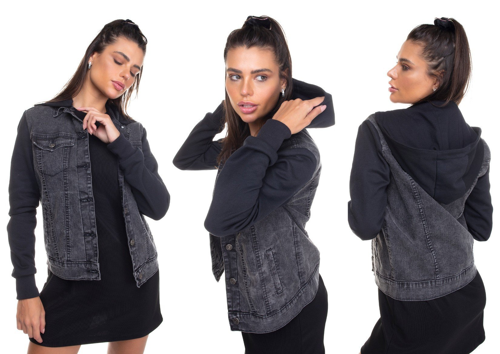 dz9109 jaqueta jeans feminina com capuz denim zero tripla