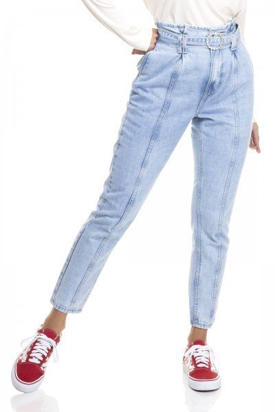 dz3385 calca jeans feminina mom com cinto denim zero frente prox