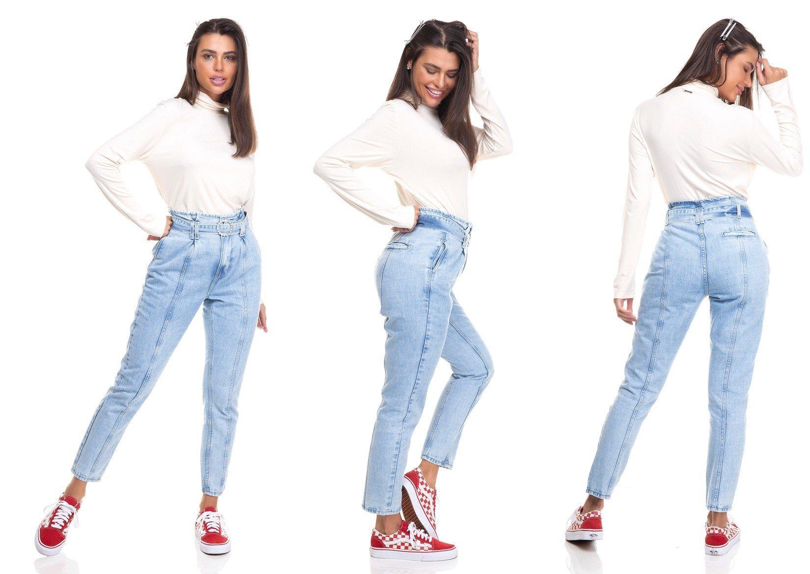 dz3385 calca jeans feminina mom com cinto denim zero tripla
