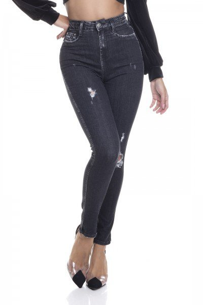dz3380 calca jeans feminina skinny hot pants cigarrete com puidos denim zero frente prox