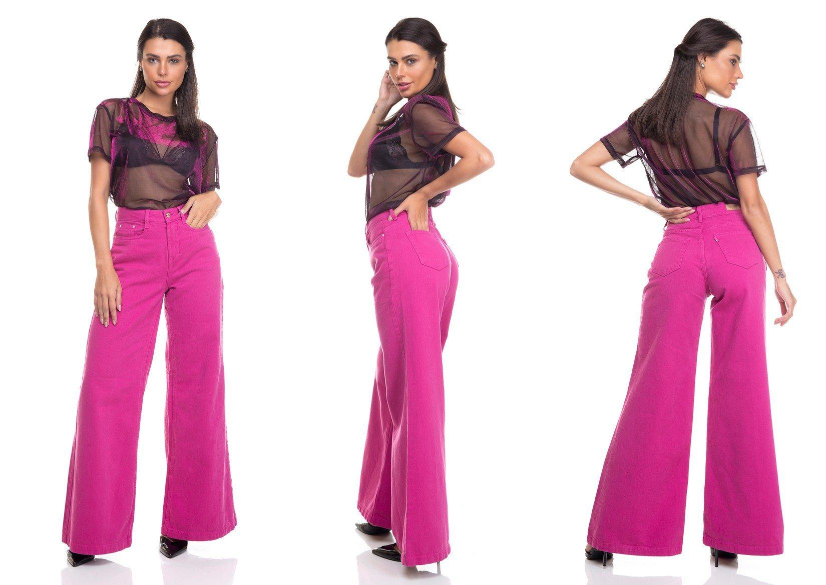 dz3383 calca jeans feminina pantalona colorida denim zero tripla