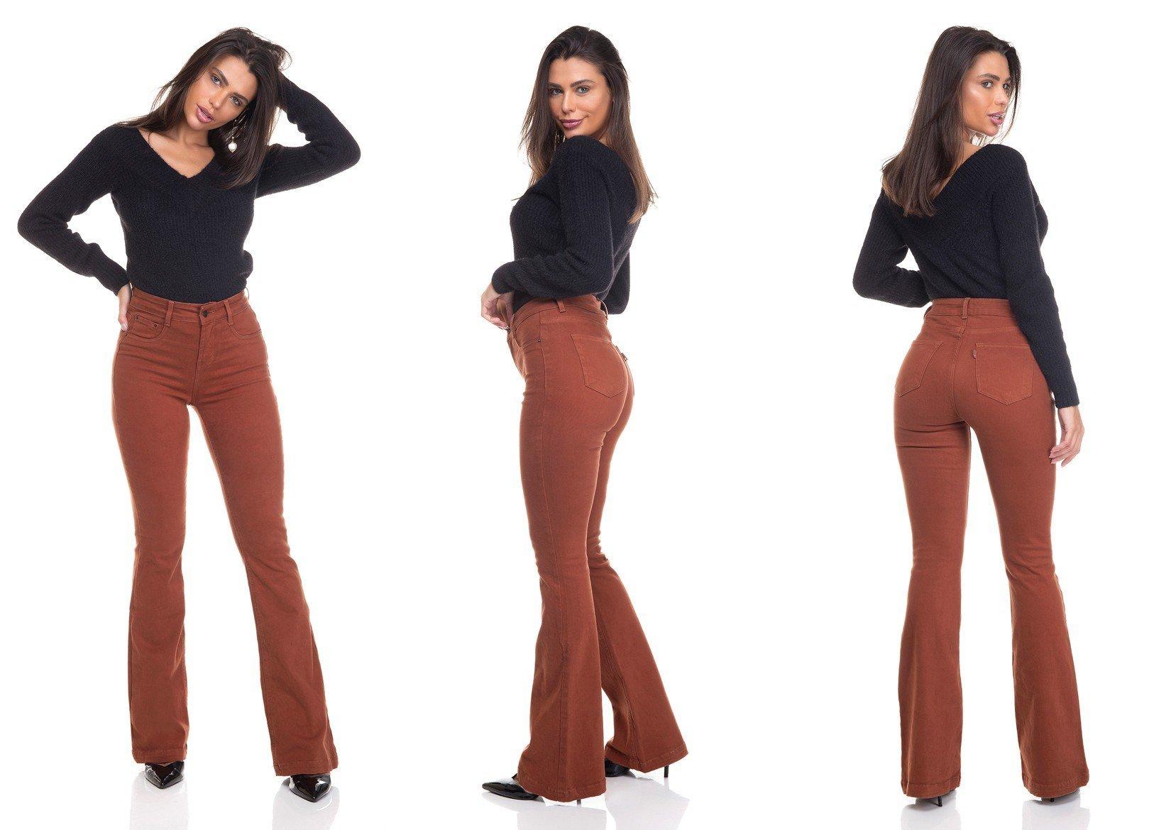 dz3453 calca jeans feminina flare media colorida raposa tripla