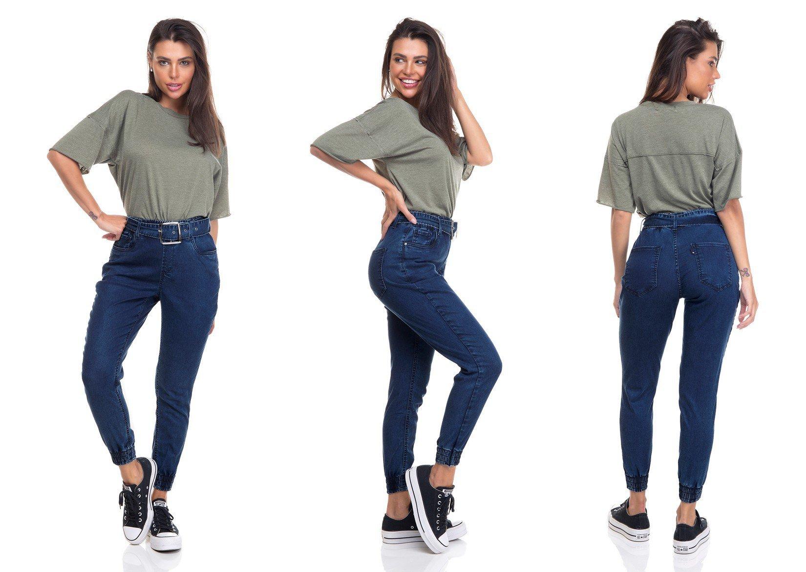 dz3353 calca jeans feminina jogger com cinto denim zero tripla