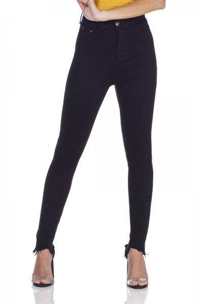 dz3128 calca jeans skinny cintura alta hot pants preto denim zero frente prox