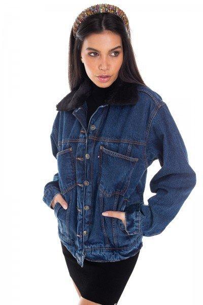 dz9111 jaqueta jeans feminina 80 s estampada denim zero frente