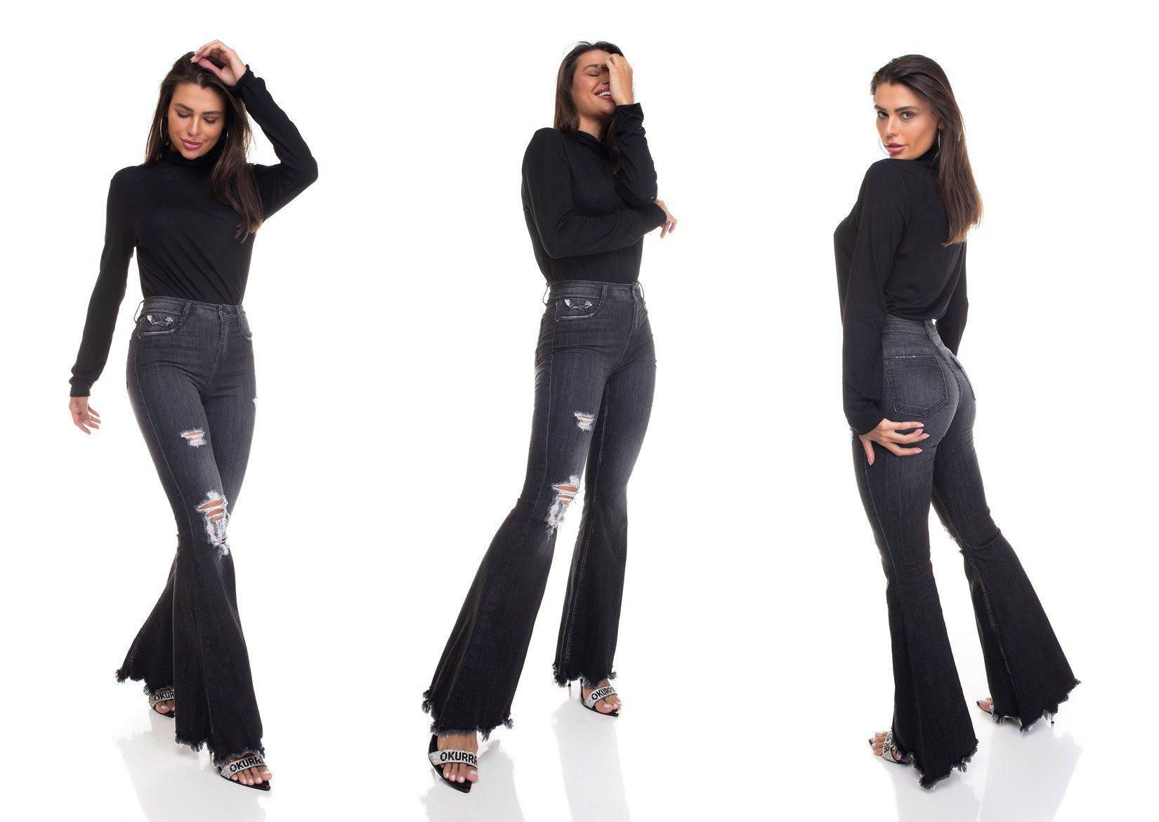 dz3382 calca jeans feminina super flare barra desfiada denim zero tripla