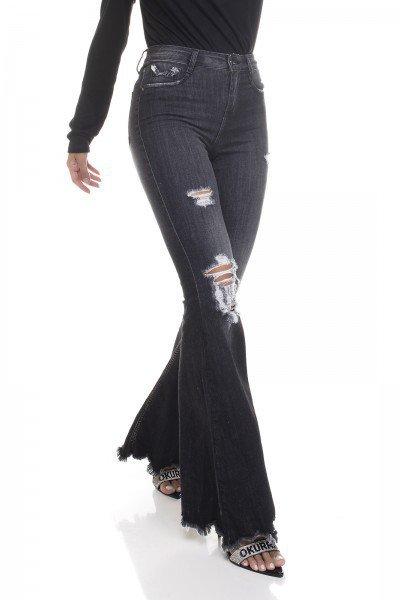 dz3382 calca jeans feminina super flare barra desfiada denim zero frente prox 02
