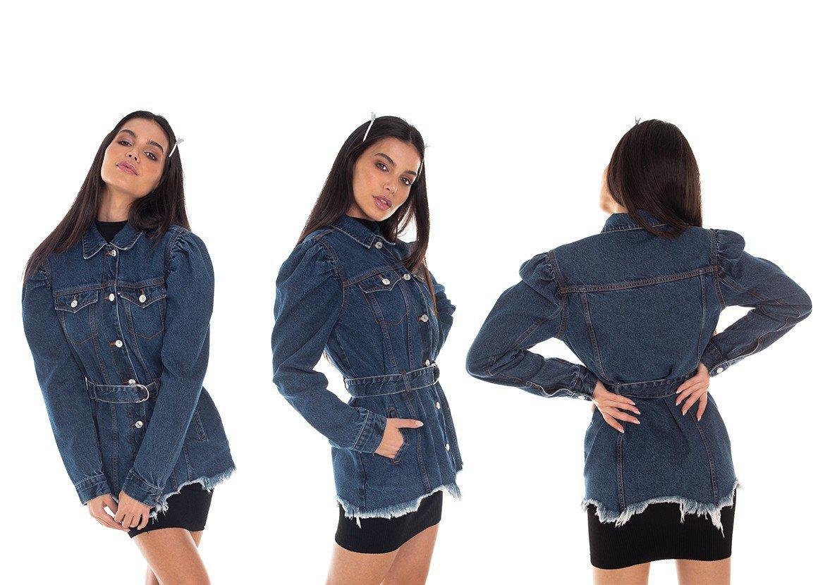 dz9112 jaqueta jeans feminina oversize manga bufante denim zero tripla