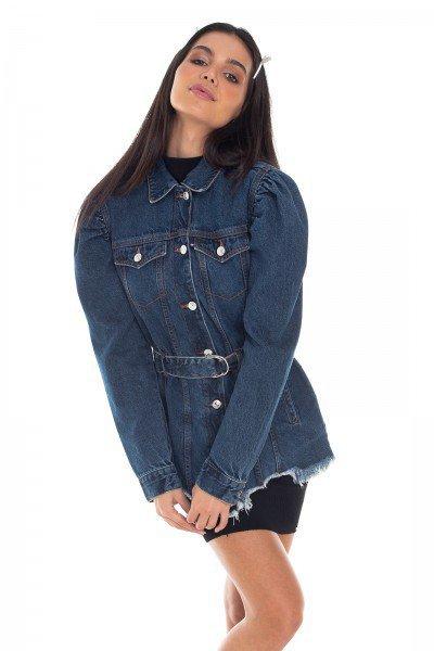 dz9112 jaqueta jeans feminina oversize manga bufante denim zero frente prox