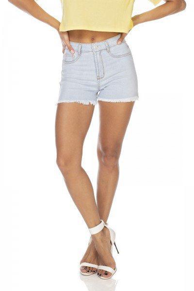 dz6336 shorts jeans feminino pin up barra desfiada denim zero frente prox